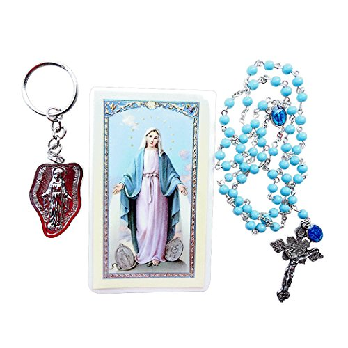 (Our Lady of The Miraculous Medals Glass Blue Beads Rosary with Miraculous Dangling Medal Includes Our Lady Key chain and a Prayer Card Blessed By HIS Holiness)