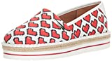 Love Moschino Women's JA10103G15IF0100 Sneaker, White hearts Printed Canvas, 36 M EU (5 US)