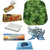 Dabble Dabs Small Leaf Tray & ELEMENTS Single Wide Rolling Papers + Raw Classic Single Wide Papers + 1¼ Plain Rolling Papers + Raw Metal Rolling Paper Case & Scoop Card + Dabble Dabs Sticker