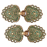 Bezelry Romantic Bouquet Hook and Eye Cloak Clasp Fasteners Pack of 4 Pairs 62mm x 25mm Fastened.
