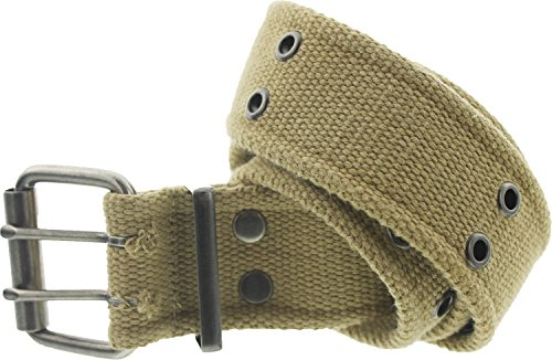 Military Double Prong Canvas Belt, Heavy Duty Army Pistol Grommet Two Hole 1.75