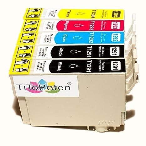 *TITOPATEN* 5x Epson Workforce WF 3520 DWF kompatible XL Druckerpatrone ersetzt Typ T1291-1294 - 2xSchwarz-1xCyan-1xMagenta-1