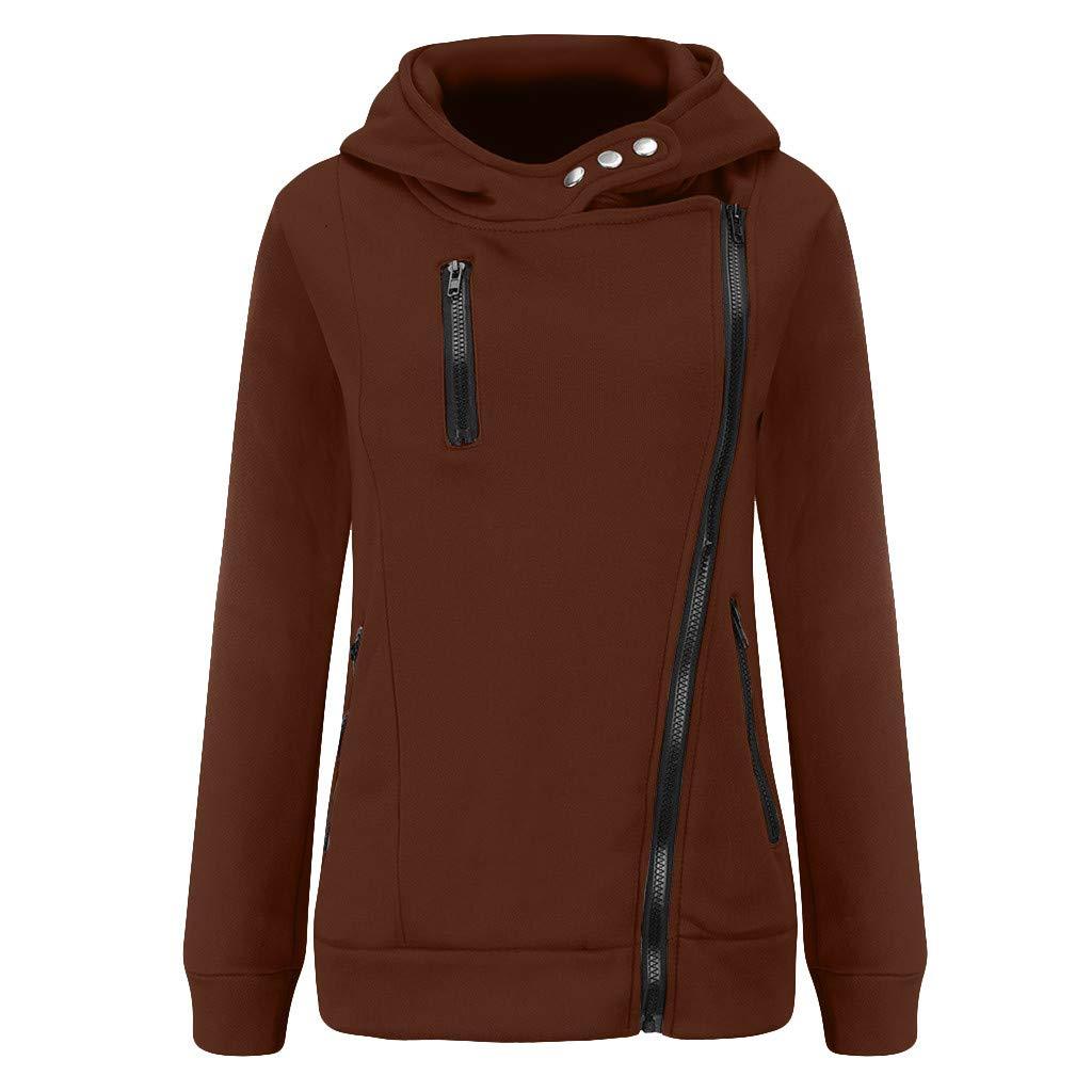 Shusuen Women's 3/4 Long Sleeve Hoodie Open Front Jacket Zipper Outwear Coat with Pockets Coffee by Shusuen