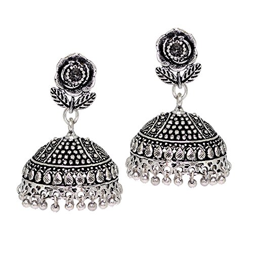raditional Look Handmade Splendid Flower Design Silver Oxidised Earrings Gift For Women ()