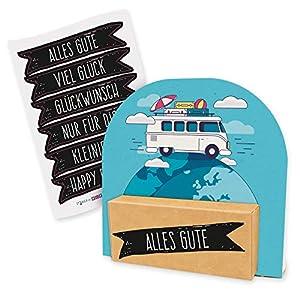 51ceVboHtVL. SS300 itenga Geldgeschenk oder Gutschein Verpackung Geschenkaufsteller Motiv/Anlass Reise Wohnmobil Camping mit Stickerbogen…