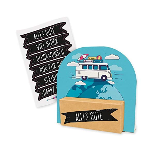 51ceVboHtVL itenga Geldgeschenk oder Gutschein Verpackung Geschenkaufsteller Motiv/Anlass Reise Wohnmobil Camping mit Stickerbogen…
