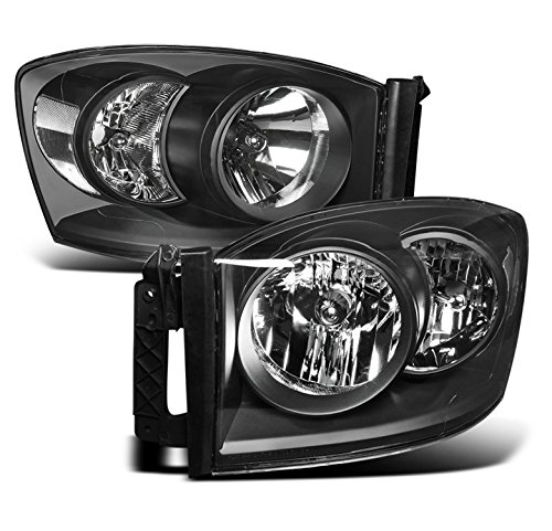 ZMAUTOPARTS Dodge Ram 1500 2500 3500 Pickup Truck Crystal Headlights Lamp Black Set