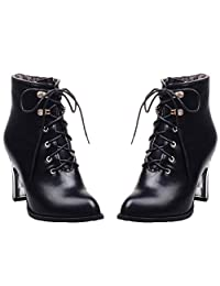 HooH Women Ankle Boots Matte Lace Up Pointed Toe High Heel Martin Boots
