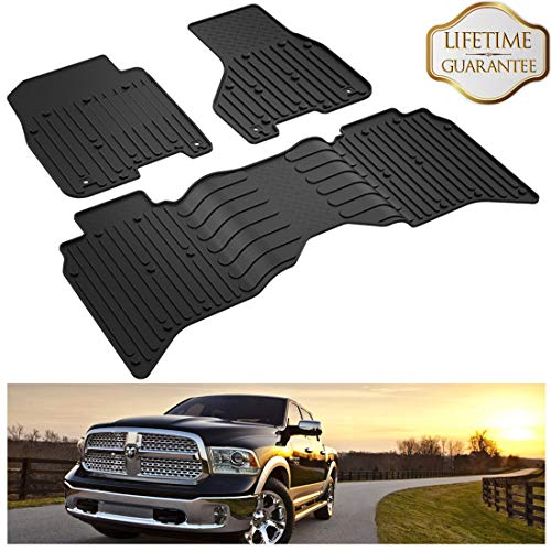 KIWI MASTER Floor Mats Compatible for 2013-2018 Dodge Ram 1500/2500/3500 Crew Cab, 2019 Dodge Ram 1500 Classic All Weather Protector TPE Front & Rear Row Floor Liners OEM Slush Mat Liner Set