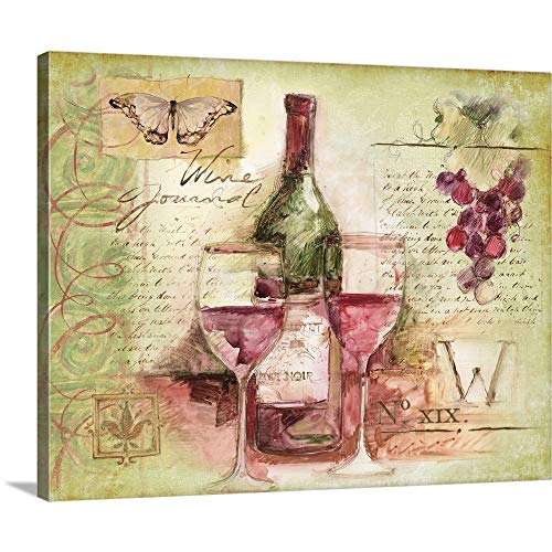Davis Pinot Noir Wine - Wine Vignette Canvas Wall Art Print, 30