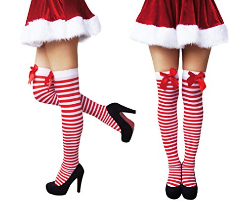 Sale Knee High Socks (Another Me Sale Women's Opaque Cute Sexy Nylon Knee Highs Thigh High Stockings With Satin Bows 29.5
