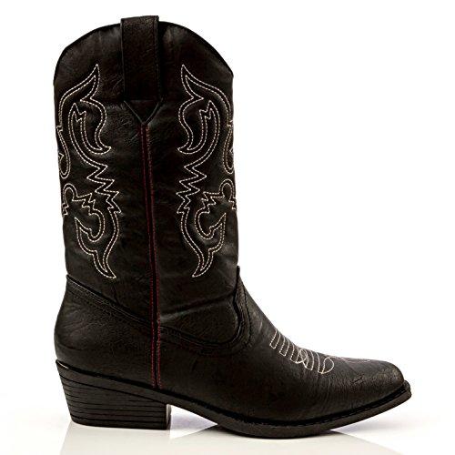 Charles Albert Kvinna Västerländsk Stil Broderade Cowboy Boot Svart