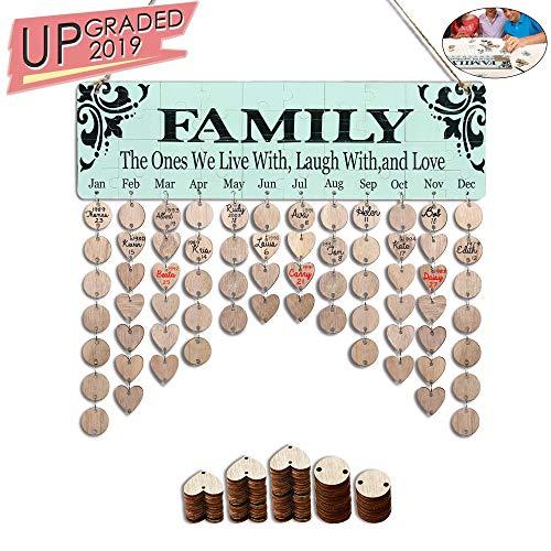 YuQi Birthday Gifts for Grandma Moms - Family Birthday Organizer Calendar Board, DIY Wooden Birthday Reminder Calendar Plaque Wall Hanging with Round & Heart Discs Tags - Jigsaw Puzzle Sticker