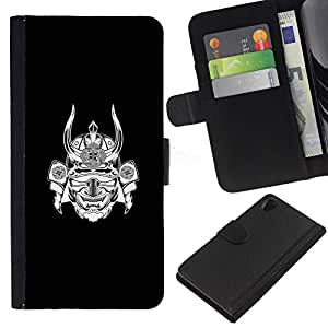 KLONGSHOP // Tirón de la caja Cartera de cuero con ranuras para tarjetas - samurai japón guerrero máscara de tinta negro - Sony Xperia Z2 D6502 //