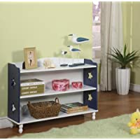 Kings Brand R1215 Wood Heart Design 2-Tier Bookcase, Navy and White Finish