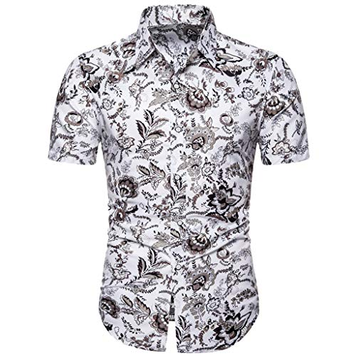 T-Shirt Tops Flower Casual Button Down Short Sleeve Hawaiian Shirt Summer Slim Loose Printed Turn-Down Collar Men (L,2- White)
