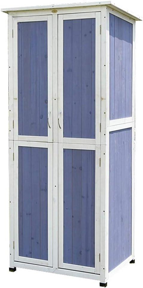 ODDINER Arcón Exterior Locker Exterior Balcón Jardín Patio de Madera sólida Gabinete Impermeable Protector Solar a Prueba de Humedad Mueble de jardín (Color : Blue, Size : 77x58x175cm)