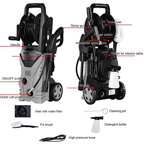 Goplus Electric High Pressure Washer 2030PSI 1.6GPM Power Pressure Washer Machine w/High Pressure Hose and Wash Brush (Red) by Goplus (Image #2)