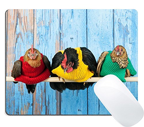 Price comparison product image Wknoon Row Chickens with Colorful Sweaters in Blue Henhouse on Stick Mouse Pad