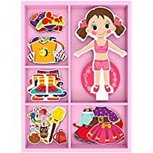 TOYSTERS Magnetic Wooden Dress-Up Dolls Toy | Pretend Play Set Includes: 1 Wood Doll with 30 Assorted Costume Dress Ideas | Not Your Average Paper Doll | Great Gift Idea for Little Girls 3+ (PZ550)