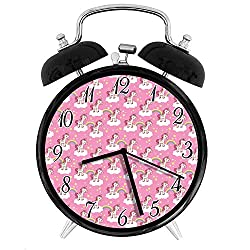 22yiihannz Stylish Modern Alarm Clock-3.8inch,Cute Unicorns Standing on Clouds with Rainbows and Stars on a Pink Skyline-No Ticking,Soft Night Light,Good Gift for Decorating The Room