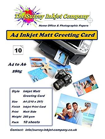 10 sheets a4 to a6 inkjet matt greeting card paper 280g free 10 sheets a4 to a6 inkjet matt greeting card paper 280g free envelopes included m4hsunfo