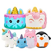 R.HORSE Jumbo Cute Narwhal Cake, Rainbow Cake Set Kawaii Cream Scented Squishies Slow Rising Decompression Squeeze Toys Kids Stress Relief Toy Hop Props, Decorative Props Large (2 Pack)