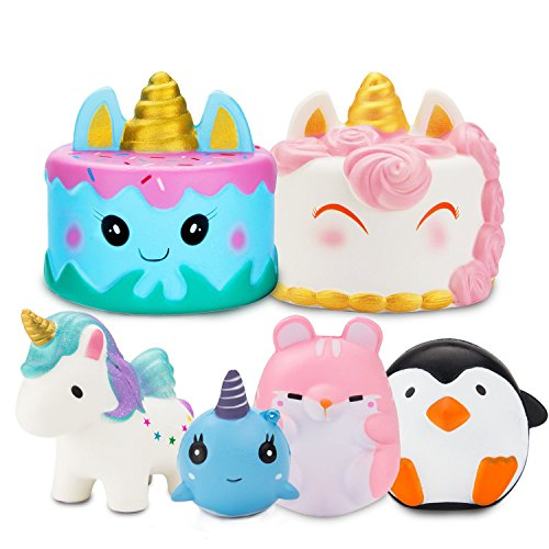R.HORSE Jumbo Narwhal Cake Squishy Kawaii Cute Unicorn Mousse Cream Scented Squishies Slow Rising Kids Toys Doll Stress Relief Toy Hop Props, Decorative Props Large (6Pack) by R.HORSE