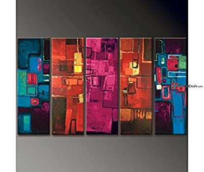 Framed Abstract Multi Color Vibrance Wall Art Oil Painting 5 Piece
