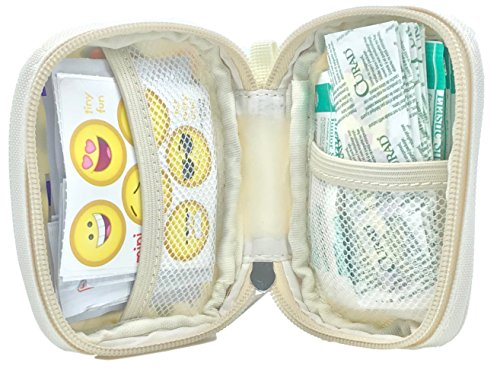 Mini Travel First Aid Kit - Compact Zippered Pouch with Strap, Perfect for Purse, Diaper Bag, Stroller, Backpack & Baby Shower Gift, Latex-Free Supplies, Limited TIME Bonus Mini Size Bandages! by PreparaKit (Image #1)