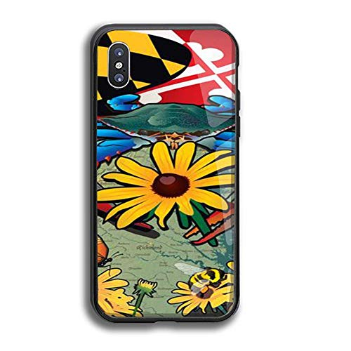 iPhone X Case Tempered Glass Terrier Protective Bumper Cover for iPhone X - Maryland State Flower