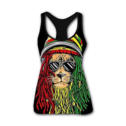 SsSEYYA-5 Rasta Lion Rastafarian Jamaican Women's Racerback Tank Tops Casual 3D Printed Tees Sleeveless Workout Yoga Shirt M Black (Top 5 Sonnenbrillen)