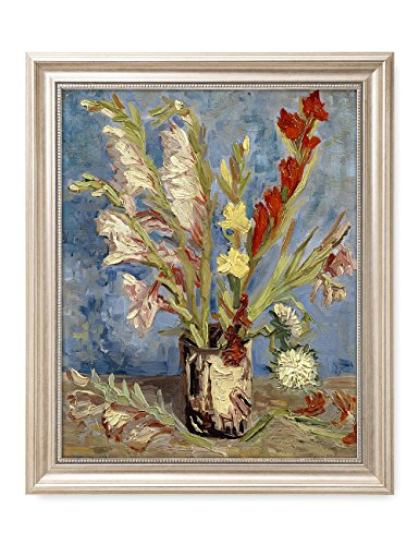 Vases Framed Canvas (DecorArts - Vase with Gladioli and Chinese Asters, Vincent Van Gogh Art Reproduction. Giclee Print& Framed Art for Wall Decor. 20x16