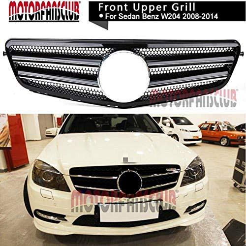 MOTORFANSCLUB W204 Grill,Front Grill Grille Black Chrome Sport Grill Mesh Replacement for Mercedes Benz C-Class C200 C180 C250 C260 C230 C280 C300 C350 2008-14 AMG Style(Black)