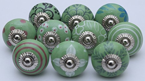 Mixed Green Ceramic Knobs Ceramic Door Knobs Handpainted Kitchen Cabinet Drawer Pulls