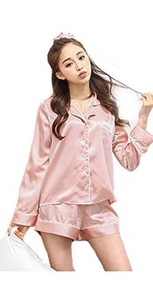 fdc9dbeaafb559 パジャマ レディース 春夏 前開きパジャマ 長袖上下セット 韓国風 ショットパンツ 可愛い レディース