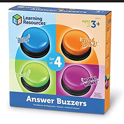 Learning Resources Answer Buzzers, Set of 4 Assorted Colored Buzzers, Ages 3+, 3-1/2in, Multicolor, Model:LER3774: Toys & Games