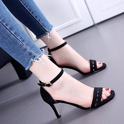 Un dedo del pie de la hebilla elegante talones de la manera sandalias negras Todo-fósforo con Thin Mujer Black