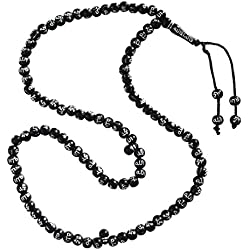 Black Plastic Tasbih with Silver Allah Muhammad Beads - 7mm Muslim Prayer Beads Rosary
