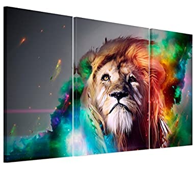 RAIN QUEEN Oil Painting Style King of Lion Painting Ready to Hang 3pcs
