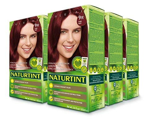Naturtint Permanent Hair Color 9R Fire Red (Pack of 6), Ammonia Free, Vegan, Cruelty Free, up to 100% Gray Coverage, Long Lasting Results
