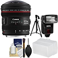Canon EF 8-15mm f/4.0 L USM Fisheye Zoom Lens with Flash + Diffuser + Pistol Grip Tripod + Kit