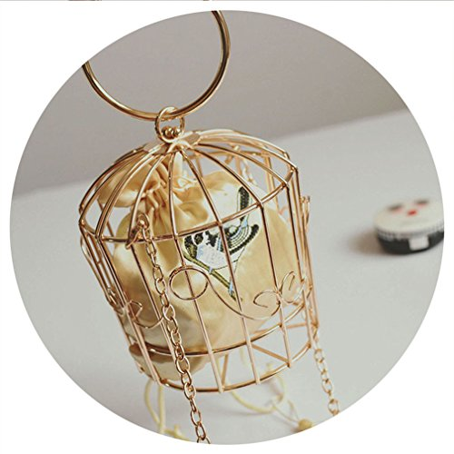 amp;OS Metal Yellow Bucket Birdcage Frame Bag Evening Mini NEW Embroidery Purse Clutch Women Bag ZJ pdBHxqp