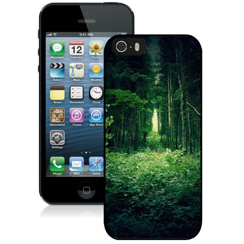 Coque,Fashion Coque iphone 5S Green Forest Trees Noir Screen Cover Case Cover Fashion and Hot Sale Design