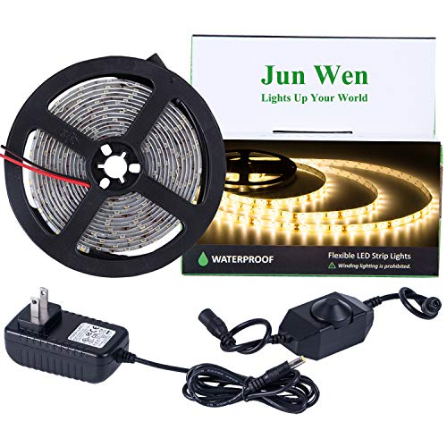 Dimmable LED Light Strip Kit Waterproof 16.4 FT/5M Tape Lights 300 Units SMD 2835 Rope Lighting 12V LED Ribbon with Power Supply for Home Kitchen Bar Clubs (Warm White)