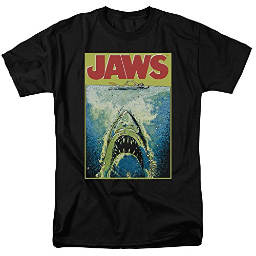 Jaws Movie Poster Retro Vintage Classic Universal Studios Men's Adult Graphic Tee T-Shirt (Medium) (Horror Tee T-shirt)