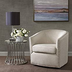 Living Room Madison Park Tyler Swivel Chair – Solid Wood, Plywood, Metal Base Accent Armchair Modern Classic Style Family Room Sofa…