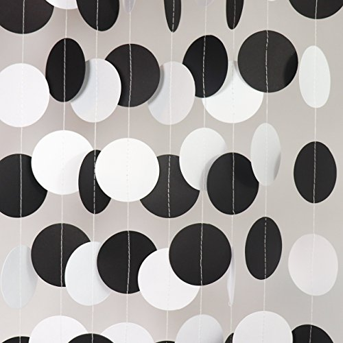 Bobee Black Party Decorations, Paper Garlands, 58 dots, 14 (Halloween Garland For Mantle)