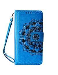 CUSKING Wallet Case for HUAWEI P30 Pro, Leather Case Magnetic Stand Bumper Case with Card Holders and Hand Wrist - Blue