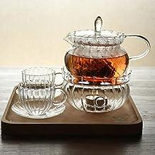 MonkeyJack High Heat Resistant Borosilicate Thicken Glass Teapot Warmer Heating Base Set Tea Pot Tealight Heater